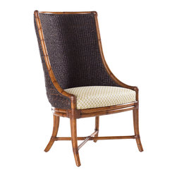 Lexington - Lexington Island Estate Cruz Bay Host Chair 531-885-01 - The rich tobacco color is natural skin-on abaca twist reflecting natures touch on tropical style on a bent rattan frame with leather wrappings. Standard with a golden sand, basket weave upholstered seat.