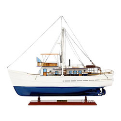 Old Modern Handicrafts - Old Modern Handicraft Dickie Walker - Our Dickie Walker model is handcrafted from beautiful wood such as rosewood, mahogany, teak, and along with various other exotic wood. The hull is constructed using a plank on frame method, each strip of exotic wood are carefully join together to form a smooth hull. This model is completely hand built to spec by skillful and creative master craftsmen; you will be amazed at how real it looks. The ship has a gleaming color of white and blue follow with amazing details. On the ship, you will find a variety of beautiful handcrafted parts such as: wooden lanterns with metal frame, wooden canoes, metal propeller, wooden benches, wooden main mast, and much more. This model has a gorgeous main deck; the deck has beautiful crafted wooden parts such as windows, axes, and ladders. On top of the deck, you can spot a comforting navigation area with fine-looking wooden decorations. An attach wooden stand comes standard with this model. Our model was built according to scale through original plans, pictures and drawings. We absolutely use no plastic parts only the highest quality wood and metal parts. This model is carefully secure and packed inside a wooden crate for easy shipping purposes. Our Dickie Walker model comes ready to be display.
