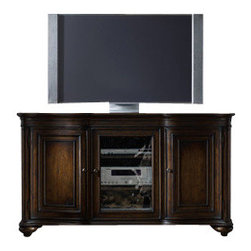 Hooker - Hooker Turnbridge Entertainment Console in Dark Cherry - Relax and reconnect as you come to the favorite part of your day. Its that time when you put your feet up, sit back and enjoy your favorite TV show, movie or sports event. Or maybe your time is more lively, as you jump and move to a game of electronic tennis or join a virtual rock band. Hooker Furniture help make your downtime enjoying movies, electronic games or music even better. There is a wide selection of home entertainment furniture in styles ranging from American traditional tocasual to modern. This Turnbridge Entertainment Console features a dark cherry finish with heavy burnishings and very heavy physical distressing for a rustic look.