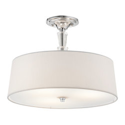 Kichler 3-Light Semi Flush - Chrome - Three Light Semi Flush. From the crystal persuasion collection, this lighting semi flush mount ceiling light features a clean chrome finish and crystal accents that compliment the modern drum shade, made from a white linen fabric and satin etched glass diffuser. Energy efficient compact fluorescent lamp may be used: not included.