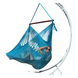 Jumbo Sized Light Blue Weather Resistant Rope Hammock Chair - Hammock chairs bring style and relaxation to any decor. This Jumbo sized light blue rope hammock chair is hand woven from soft spun polyester. Unlike cotton chairs, they will not rot, mold or mildew, and should last you for years. Woven into the body is an extra long extendable footrest that enables the user to really stretch out. The tropical hardwood spreader bar s a full 47 inches wide giving ample shoulder room for any sized person, and has multiple coats of marine varnish to protect it from the elements. It has a maximum capacity of 275 pounds. This chair hangs easily from one suspension point that is 7.5ft or higher. NOTE: It does not come with stand or mounting hardware.