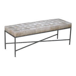 Oly Studio - Oly Studio Jonathan Bench - The Jonathan bench calls up mid-century modern style for its minimalist, sleek look. This luxurious Oly Studio creation features a metal base to support its thick, tufted cushion. 48��_W x 16��_D x 17.5��_H; Metal base with upholstery; Choose from several finishes and upholstery options; Shown in silver finish and dove leather upholstery; Handcrafted with natural and expected variations; COM yardage: 2; Fabric samples are available on loan, email your request to swatches@zincdoor.com.