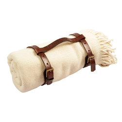 Patron Design - Llama Blanket in a Rustic Leather Harness Carrier - If you're looking for luxurious warmth and handmade quality, look no further than this llama, Mama. Super soft and generously sized, this blanket is made by artisans in Argentina from a blend of 65 percent llama and 35 percent Merino wool. It comes with its own Argentinian leather harness to carry or store in style.