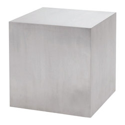 Nuevo Living - Caldo Side Table - A minimalist statement can have major impact in your favorite modern setting. This cube accent table is a case in point — a strong, classic shape in a brushed stainless steel finish, it's a study in simplicity.