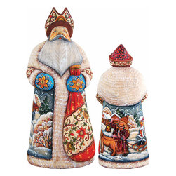 """Artistic Wood Carved Santa Claus Companion Sculpture - Measures 11""""H x 3.5""""L x 4.25""""W and weighs 3 lbs. G. DeBrekht fine art traditional, vintage style sculpted figures are delightful and imaginative. Each figurine is artistically hand-painted with detailed scenes including classic Christmas art, winter wonderlands and the true meaning of Christmas, nativity art. In the spirit of giving G.DeBrekht holiday decor makes beautiful collectible Christmas and holiday gifts to share with loved ones. Every G. DeBrekht holiday decoration is an original work of art sure to be cherished as a family tradition and treasured by future generations. Some items may have slight variations of the decoration on the decor due to the hand painted nature of the product. Decorating your home for Christmas is a special time for families. With G. DeBrekht holiday home decor and decorations you can choose your style and create a true holiday gallery of art for your family to enjoy. All Masterpiece and Signature Masterpiece woodcarvings are individually hand numbered. The old world classic art details on the freehand painted sculptures include animals, nature, winter scenes, Santa Claus, nativity and more inspired by an old Russian art technique using painting mediums of watercolor, acrylic and oil combinations in the G. Debrekht unique painting style. Linden wood, which is light in color is used to carve these masterpieces. The wood varies slightly in color."""