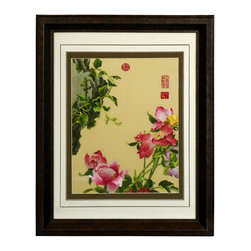 China Furniture and Arts - Pink Peony Silk Embroidery Frame - Silk embroidery is a Chinese art form with origins dating back millennia. With each piece containing thousands of tiny threads, a composition requires an extremely high level of skill to create. This particular embroidery features a lovely assortment of pink peony flowers. The reflective nature of the silk thread allows the lively colors of the petals and leaves to stand out beautifully in light. Museum quality  framing makes this piece ready to hang and make a statement on any wall it adorns.