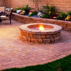 Retaining Walls and Fire-Pits - Brick Paver Patio with retaining walls , retaining sitting walls and fire pits