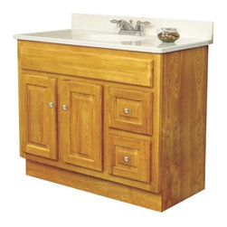 "SUNCO - Vanity 2 Door, 2 Drawer 36""X21"" Oak - 36""W X 21""D X 32-1/2""H Oak Vanity. Ready-to-assemble. 2 door, 2 drawer. Solid wood frame. Plywood side and back panels. Raised square panel doors and drawers. Brushed nickel knobs included. Knobs require installation. Standard overlay 2 way adjustable hinges. KCMA certified."