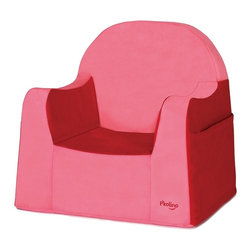P'kolino - Little Reader, Red - Make story time or TV viewing special with this adorable toddler's chair. Constructed of high-density foam and covered with soft, stain-resistant microsuede, it includes side pockets for books and a built-in handle for easy toting. The chair features a wide base for extra stability, and is recommended for ages 2 to 4.
