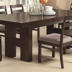 Coaster - Dabny Dining Table w Pull Out Extension - Chairs sold separately. Includes 15.5 in. leaf. Contemporary style. Rectangular shape. H-form double pedestal base. Block legs. Made from wood veneers and solids. Cappuccino finish. 71-86.5 in. L x 39.25 in. W x 30 in. H. WarrantyThis dining table with easy going style to your casual or semi formal dining room. The Dabny collection is a great option if you are looking for Contemporary furniture in the area. The pull out extension leaf enhances the versatility of this table so it adjusts to the size you need, no matter the occasion. The of the Dabny collection provide a bright and fresh look to your home's dining space with natural beauty.