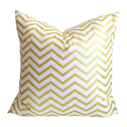 Gold Chevron Metallic pillow cover - Gold foil and white with Zipper, 16 Inches - Throw pillow cover, fits one 16 inch square throw pillow.