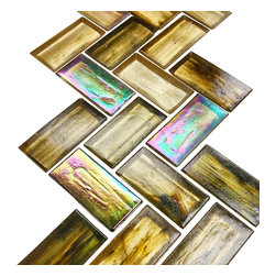 Rachels Mosaics - Iridescent Herringbone Stained Glass - Featuring a reddish green iridescence tone, this artisan stained glass mosaic will capture attention in any application.