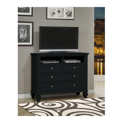 """Coaster - """"Coaster Sandy Beach Media Chest, Black"""" - """"Give your bedroom a classic and elegant style with this headboard and footboard bed. This collection is crafted with tropical hardwoods in a black finish. The ultra high headboard and low profile footboard keep the piece in balance, with sophisticated paneled details for a classic look.Finish/Color: Black FinishAssembly Required: NoMade in Malaysia"""""""