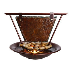 """Bluworld - Mini Haiku Moon Tabletop Fountain with Light - This gorgeous tabletop fountain features a slate panel hanging from a dark copper powder coated frame. Water flows out of the tube down the slate past the layer of polished river stones and into a pool of water. Makes a great centerpiece for any table and comes complete with a quiet drive pump and accent light. Metal resin and stone. Dark copper finish. Quiet drive pump. Accent light included. 13"""" high. 15"""" wide at the top. Bowl measures 12 1/2"""" diameter. From Bluworld fountains.  Bluworld tabletop fountain.  Water flows down slate into lower bowl.  Real river rock accents.  Dark copper finish.  Metal resin and stone construction.  Comes with quiet drive pump.  Built-in light included.  Design by Bluworld table fountains.  15"""" wide at widest point.  13"""" high.  12 1/2"""" bowl."""