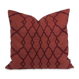 IK Dyani Embroidered Pillow with Down Insert - Featuring rich embroidered pattern over an indulgent red cotton cover, the Dyani pillow has a down fill insert and is designed by Iffat Khan.