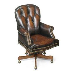 Hooker Seven Seas - Hooker Seven Seas Distressed Brown Genuine Leather Swivel Office Chair - Kiln dried solid hardwood construction