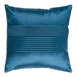 """Surya - Surya Tracks Decorative Pillow - Teal Blue - HH024-1818D - Shop for Pillows from Hayneedle.com! About Surya RugsSince 1976 Surya has established itself as one of India's leading producers of fine hand-knotted hand-tufted and flat-woven rugs. Their products are sold in the U.S.A. at respected department and specialty stores. The company is known for its quality value dedication and innovation. This includes responsibility for the entire process - spinning dyeing weaving and finishing. Surya prides itself on using the best raw material available for the production of their rugs. They are proud members of """"Wools of New Zealand."""" From design concept through production a Surya family member is involved making sure that the highest standards are being met at each level. Surya works with top designers and constantly updates their designs and color palettes to match and set the trends in design and fashion for the home. Surya always means a fine choice in rugs."""