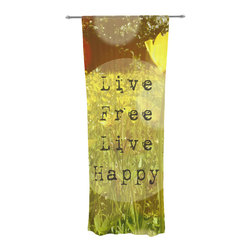 """Kess InHouse - Alison Coxon """"Live Free"""" Yellow Green Decorative Sheer Curtain - Let the light in with these sheer artistic curtains. Showcase your style with thousands of pieces of art to choose from. Spruce up your living room, bedroom, dining room, or even use as a room divider. These polyester sheer curtains are 30"""" x 84"""" and sold individually for mixing & matching of styles. Brighten your indoor decor with these transparent accent curtains."""