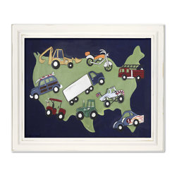 """Doodlefish - Wheels USA - This Doodlefish artwork is a mounted Giclee of various vehicles with the USA as a background. The piece is approximately 24"""" x20"""". It is also available with several different frame colors and with personalization."""