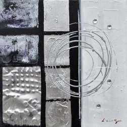 YOSEMITE HOME DECOR - Back to Square III Art Painted on Canvas - This abstract piece is beautifully accented with the use of silver metallic and organic lines with heavy texture.  The contrast of the dark and light coloring gives this painting an understated elegance.