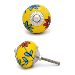 """Knobco - Ceramic Knob, Red,Green and Turquoise flowered with Yellow base - Red,Green and Turquoise flowered with Yellow base ceramic knob, perfect for your kitchen and bathroom cabinets! The knob is 1.5"""" in     diameter and includes screws for installation."""