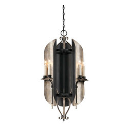 Savoy House - Amiena 6 Light Entry Chandelier - Amiena, By Savoy House Is A Timelessly Elegant Collection. The Aged Iron Finish Is Accented With Beautifully Curved Buffed Copper Shields And Elongated Spire Candles.