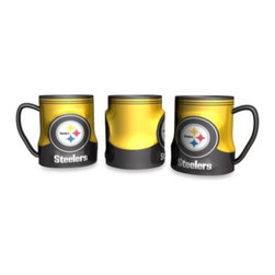 Boelter Brands Llc - Pittsburgh Steelers 20-Ounce Sculpted Team Coffee Mug - Show your team spirit and enjoy your morning coffee with this fun and generously sized 20-ounce ceramic mug. Colorfully decorated with raised official team logo graphics.