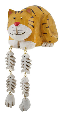 Zeckos - Cute Yellow Cat Dangler Shelf Sitter - Add a unique accent to any shelf or desk in your home or office with this darling dangler. It features a cat with its catch of the day, and measures 4 inches tall, 5 inches long, and 4 inches wide. It is made of cold cast resin, hand painted, and finished to look as though it has been carved from wood. This piece is a great gift for feline fanatics, and is sure to start a conversation.