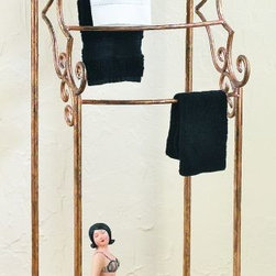 Four Rod Towel Rack - Organize and display your towels while keeping them within easy reach with our convenient and elegant towel stand. Featuring four horizontal bars and lower shelf, this desirable piece is the perfect choice for your master or guest bath. These unique, hand-crafted accessories are the products of craftsmen working in cottage industries around the world.