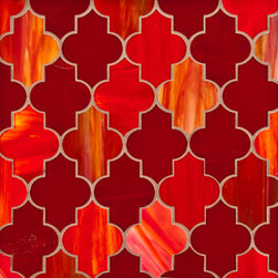 Chrysalis Marrakech - Jazz up the traditional brick tile pattern and add a little Moroccan flair. Chrysalis marrakech in red rose e0016, transparent orange/red e0015 and mottled orange light e0016