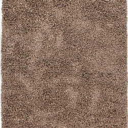 Jaipur Rugs - Beige /Brown Abstract Pattern Shag Rug - TB06, 7.6x9.6 - The energy and sophistication of urban loft living inspire the fashion-forward Tribeca Collection. At home in any of todays contemporary living spaces, this luxe range combines elements of shag pile, ribbons and beading for a highly textural look and feel.