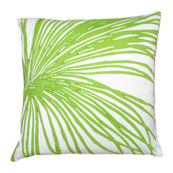 Palm Tropical Green Pillow - Give your beach home living or family room an eclectic, tropical feel with our Palm Tropical Green Pillow on white linen.  Each pillow is hand painted for a vivid effect.