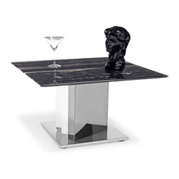 Zuri Furniture - Nero Black and White Marble End Table with Polished Stainless Steel Base - Amazing swaths of black and white combine with subtle undertones of cocoa and cream in our exclusive sealed marble Nero End Table. The stunning table top is accented with a brushed stainless steel finish base and supported by chrome uprights. Elegant and upscale, this piece is a treasure to behold!