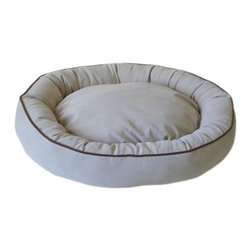 Carolina Pet Company - Microfiber Oval Lounge, Linen, 30 X 24 X 6 - Plush microfiber wraps your pet in luxury and comfort.  Zippered removable cover for easy care and machine washing.  Recycled high loft Polyester fill keeps pets happy and healthy by relieving pressure on hips and joints.  The perfect nesting spot for your best friend.