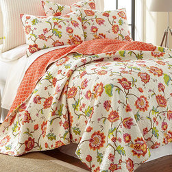 Levtex Home - Cream Brittany Quilt Set - This quilt's bright and beautiful flowers and paisley will bring a little sunshine into your bedroom. Its soft cotton will keep you snug late in the morning till the bluejays sing.   Includes quilt and two shams (twin size includes one sham) 100% cotton Machine wash cold; tumble dry low Imported