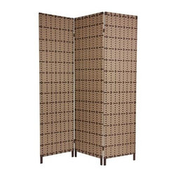 Oriental Unlimted - 6 ft. Tall Tropical Outdoor Privacy Screen - Constructed of resin with a metal frame, this rust proof outdoor screen is perfect for creating privacy on an urban deck or patio or setting off a grouping of plants. Featuring three panels linked with two-way hinges, the screen will bring a tropical spirit to any space. Screens may vary slightly in color. 3 Panels. Commercial grade all metal frame, super strong, rigid and long lasting iron bar provides substance and stability. Tough, high density resin fiber strips in tight cross weave, extremely durable, waterproof and easy to clean. Great for dividing space, providing privacy, hiding unsightly areas or equipment, background for plants or sculptures or defining a cozy space for a drink table and chairs on deck or patio. Lighter and more portable. Smooth, attractive, Rust proof finish. Provides about 4 ft. of width when displayed as shown. Per panel: 17.75 in. W x 71 in. H