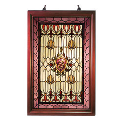 Warehouse of Tiffany - Tiffany-style Classic Wooden Window Panel - Accentuate your classic motif with a jeweled Tiffany style wooden window panel. A stylish wooden frame supports authentic,hand-cut stained glass highlighted in accent shades of pink,amber,and green. Each panel includes a 30-inch chain for hanging.
