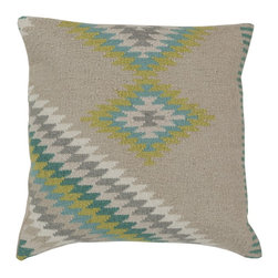 "Surya - Surya 18 x 18 Decorative Pillow, Oyster Gray and Aqua (LD034-1818P) - Surya LD034-1818P 18"" x 18"" Decorative Pillow, Oyster Gray and Aqua"