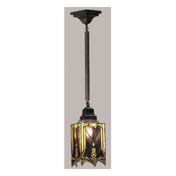 Meyda - 5.5 Inch Square Cottage Mission Mini Pendant Ceiling Fixture - Collection: Mission