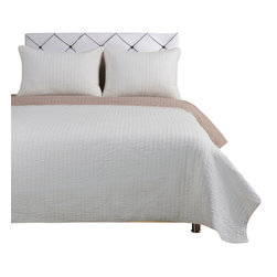 Harley Quilt Set - King/California King - Ivory/Taupe - The Harley Quilt Set features a basic stitched striped pattern. This set is made of 100% cotton and includes (1) Quilt: 106x92 and (2) Pillowshams: 20x36 each.