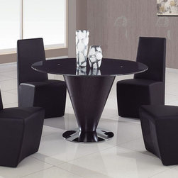 Stylish Round Glass Top Leather Kitchen Dinette Sets - Black glass top 5 pc modern dining set.