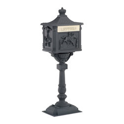Amco Victorian Pedestal Mailbox in Black - This lovely Victorian-style mailbox is by Amco.  It comes with the mailbox and the post, and offers secure locking ability.  It retails for $235.00 with free shipping at http://www.mailboxixchange.com