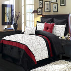Royal Tradition - R-T 8pc Luxury Comforter Set- Atlantis- Ivory - The Atlantis 8-piece comforter set offers a modern, tailored look that creates an aura of calmness in any bedroom. The bold color blocking in red, black and ivory give a strong design impact. This set includes all the pieces you need for a flawlessly decorated bed.  100% Polyester/ Machine Washable