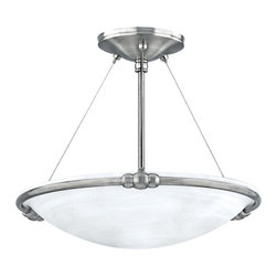 "Canarm - Seville - 15"" Semi Flush Light in Brushed Pewter with White Alabaster G -"