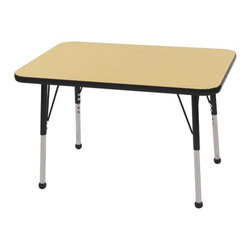"ECR4Kids - 24x36 Rectangular Adjustable  Activity Table in Maple - ECR adjustable leg activity tables feature 1.125 thick tabletops with laminate on both the top and bottom. Color-coordinated powder-coated upper legs, edgebanding, and matching polypropylene ball glides in the most popular classroom colors. Will not fade or discolor. Safe, non-toxic, stain-resistant and easy to clean. Tabletop Details: -Laminate table tops are 1.125 thick and are laminated on both sides. -Color-banding grips into the tabletop edges. -Color banding is made from PET and contains no phthalates. -The table substructure is made from medium-density particleboard (47 lb/ft³) that is at least 90% recycled (minimum 4% post-consumer, balance pre-consumer).. -EPP certified, CARB compliant and may contribute to US Green Building Councils LEED Credits. -18 gauge galvanized steel stability bars, with poly caps, installed on underside of all 66 - 72 length tables. -Superior shipping materials meet or exceed ISTA regulations. Leg Details: -Powder-paint coated upper leg. -Chrome-plated adjustable lower leg insert. -Legs are adjustable in 1 increments. -Threaded adjustment holes in chrome lower leg keeps legs securely in place. -Color coordinated polypropylene ball glides and nylon swivel glides available. -Easy mount leg installation with pre-installed brackets and pre- drilled screw holes for easy alignment. -Toddler Leg size (15"" - 23""). -Standard Leg size (19"" - 30""). -Chunky Leg size (15"" - 24"")."
