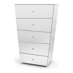 Zuri Furniture - Vailan 5 Drawers Mirrored Modern Chest - The exquisite lines of our Vailan Collection tantalize and mesmerize, making this sophisticated mirrored chest shine in an otherworldly light. So versatile in design,