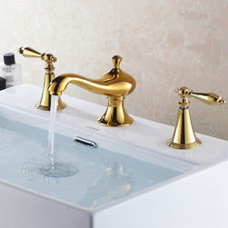 Revice Luxury Gold Bathroom Widespread Sink Faucet - Blending European style and early American influences, this Revice widespread bathroom sink faucet features two traditional levers and solid brass construction. Elegant accents bring continuity to your room decor.