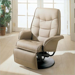 Coaster - Coaster Furniture Leatherette Swivel Recliner Chair in Bone Finish - Coaster - Recliners - 7502 - Add contemporary style and comfort to your home with the Coaster Furniture Leatherette Recliner. It features swivel capabilities, leatherette upholstery and a contoured backrest. This comfy leatherette recliner is the perfect accent for any family room or den.