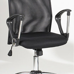 Chintaly Imports - Mesh Back Swivel Tilt Pneumatic Gas Lift Chair - Pneumatic gas lift adjustable height swivel computer chair. Contoured chair back is crafted of black mesh and offers plenty of back support. Padded seat is also contoured for additional comfort. 5 star caster chrome base allow the chair to move with eas