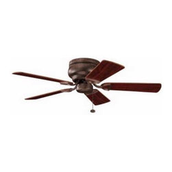 Kichler Lighting - Kichler 42-Inch Bronze Ceiling Fan with Five Blades - 339017TZ - Transitional tannery bronze indoor ceiling fan. Hugger style ceiling fan to mount flush to the ceiling for a low profile. UL listed. Dry location rated.